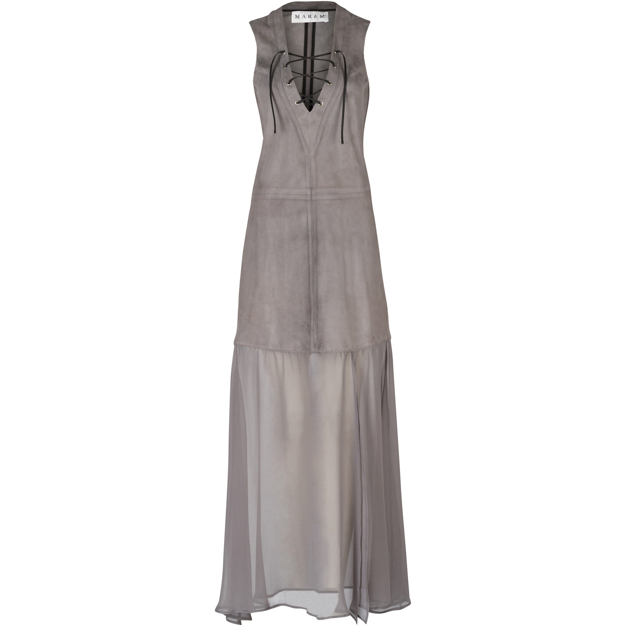 Grey Suede and Silk-Georgette Dress