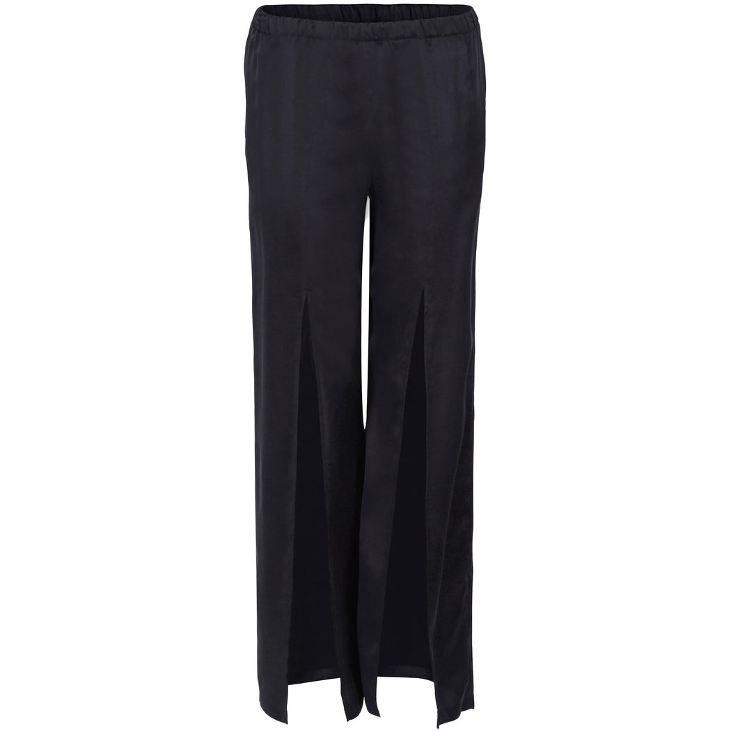 Navy Sueded- Silk Slitted Pants