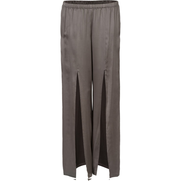 Grey Sueded-Silk Slitted Pants