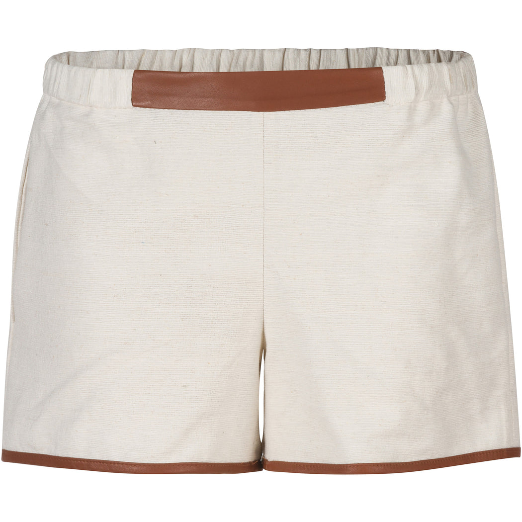 Hand-Woven Raw Silk & Lamb Leather Shorts