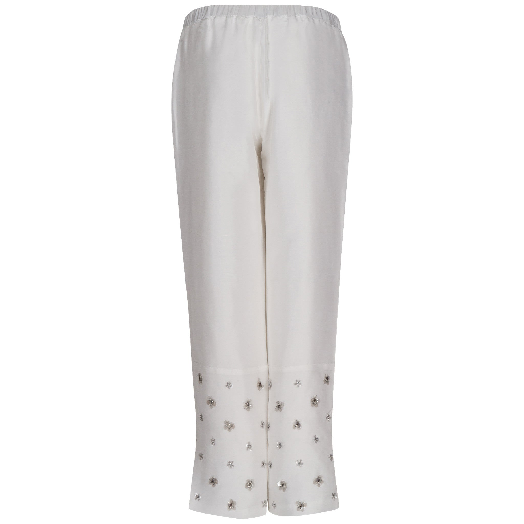 Embroidered Silk Straight Leg Pants