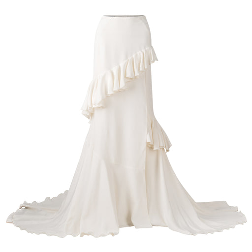 Asymmetrical Crepe Ruffle Skirt With Slit