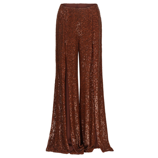 Rust Sequinned Slit Pants