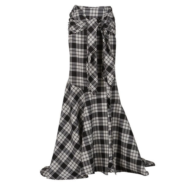 Tartan Maxi Wrap Skirt With Slit