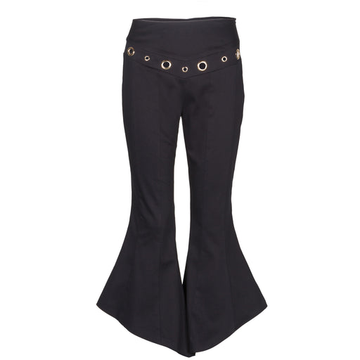 Flared Cotton-Satin Pants With Eyelets