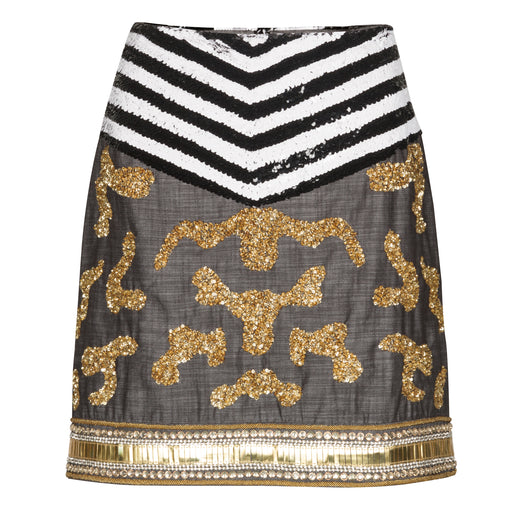 Embellished Suiting Mini Skirt