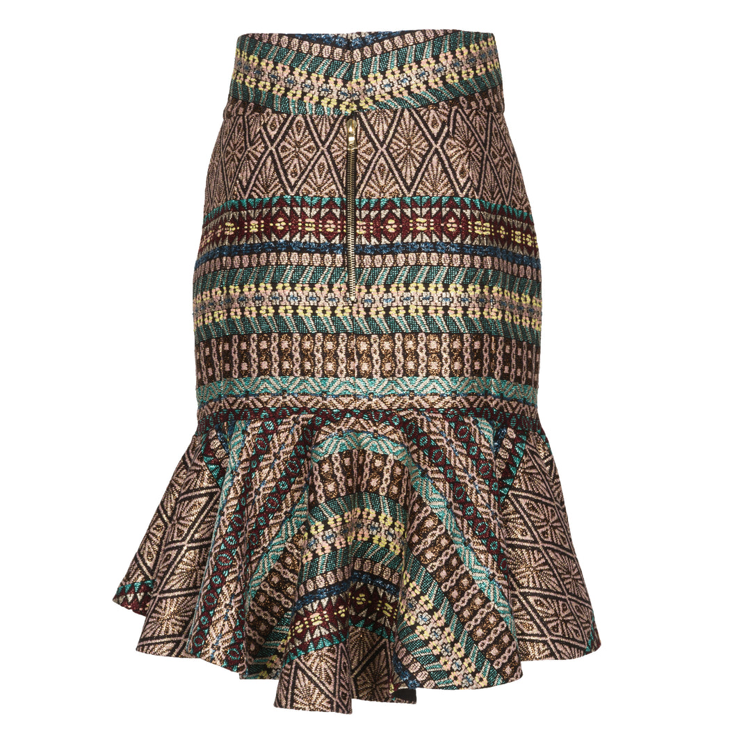 French Tweed Flared Skirt