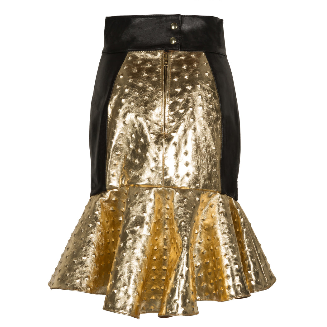 Embossed Leather Gold Skirt