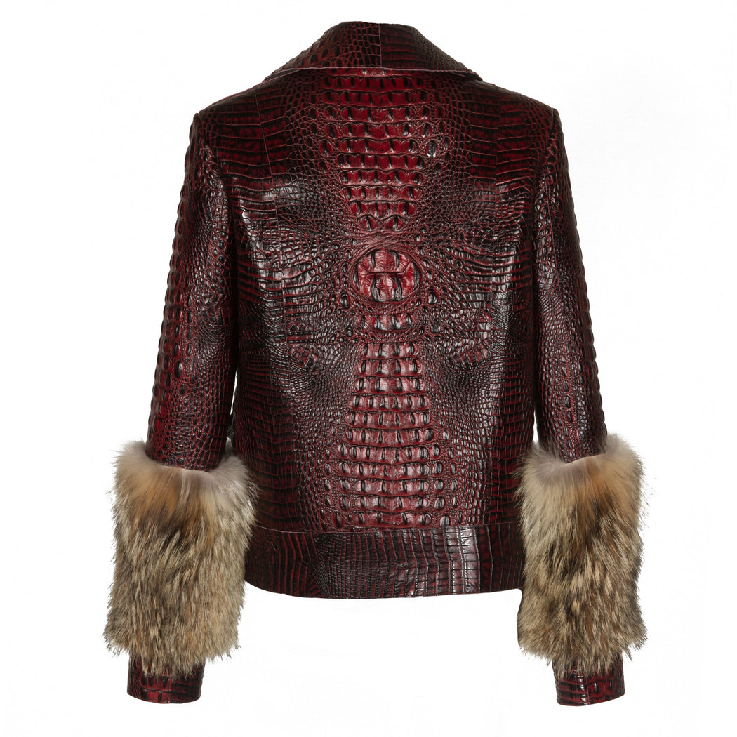 Embossed Biker Jacket With Fur Sleeves