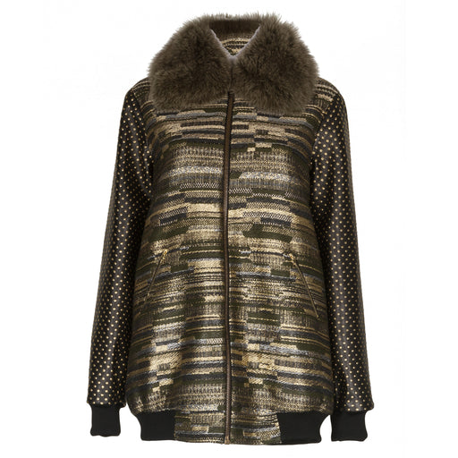Olive Tweed Bomber With Fur Collar