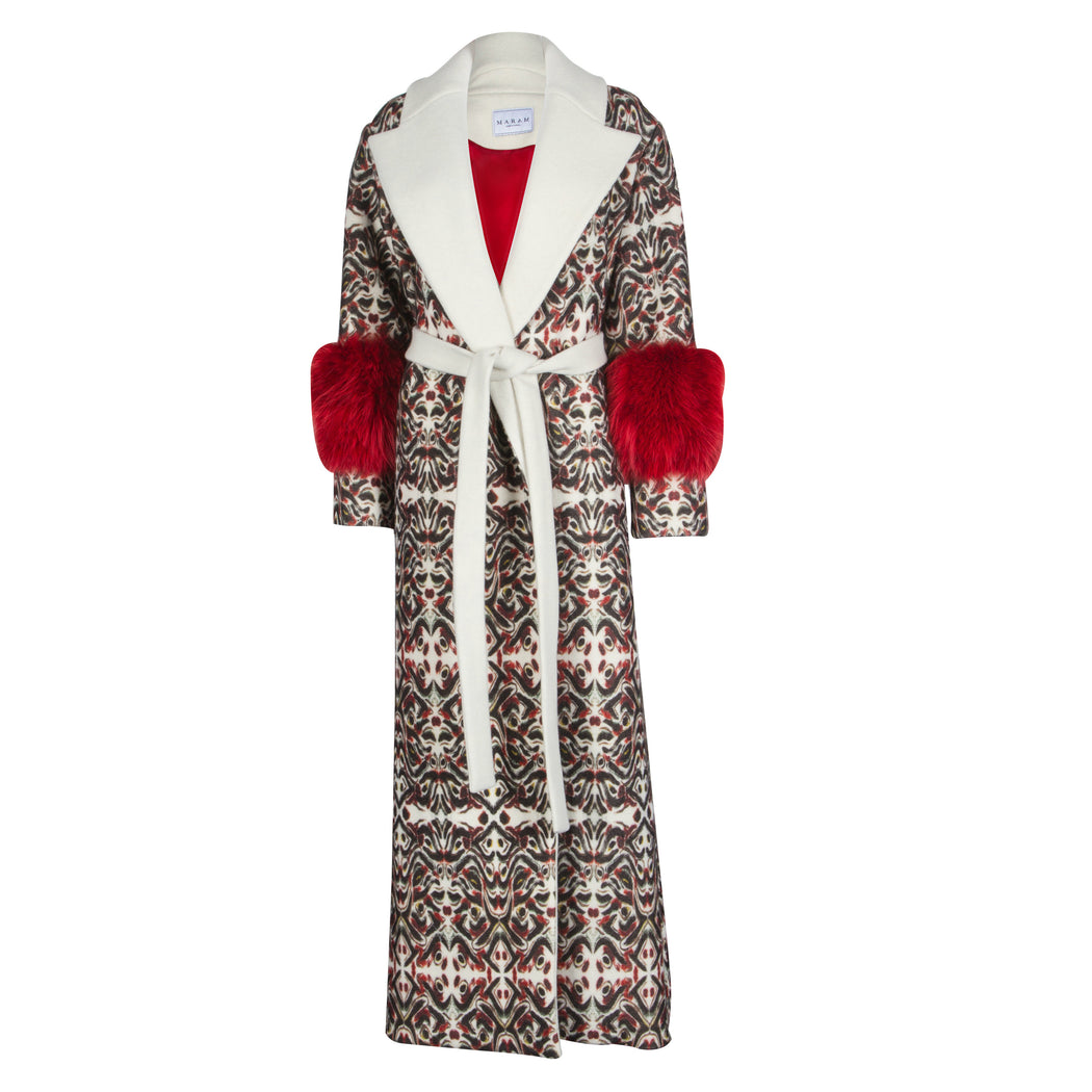 Printed Wool Trench Coat With Fur Sleeves