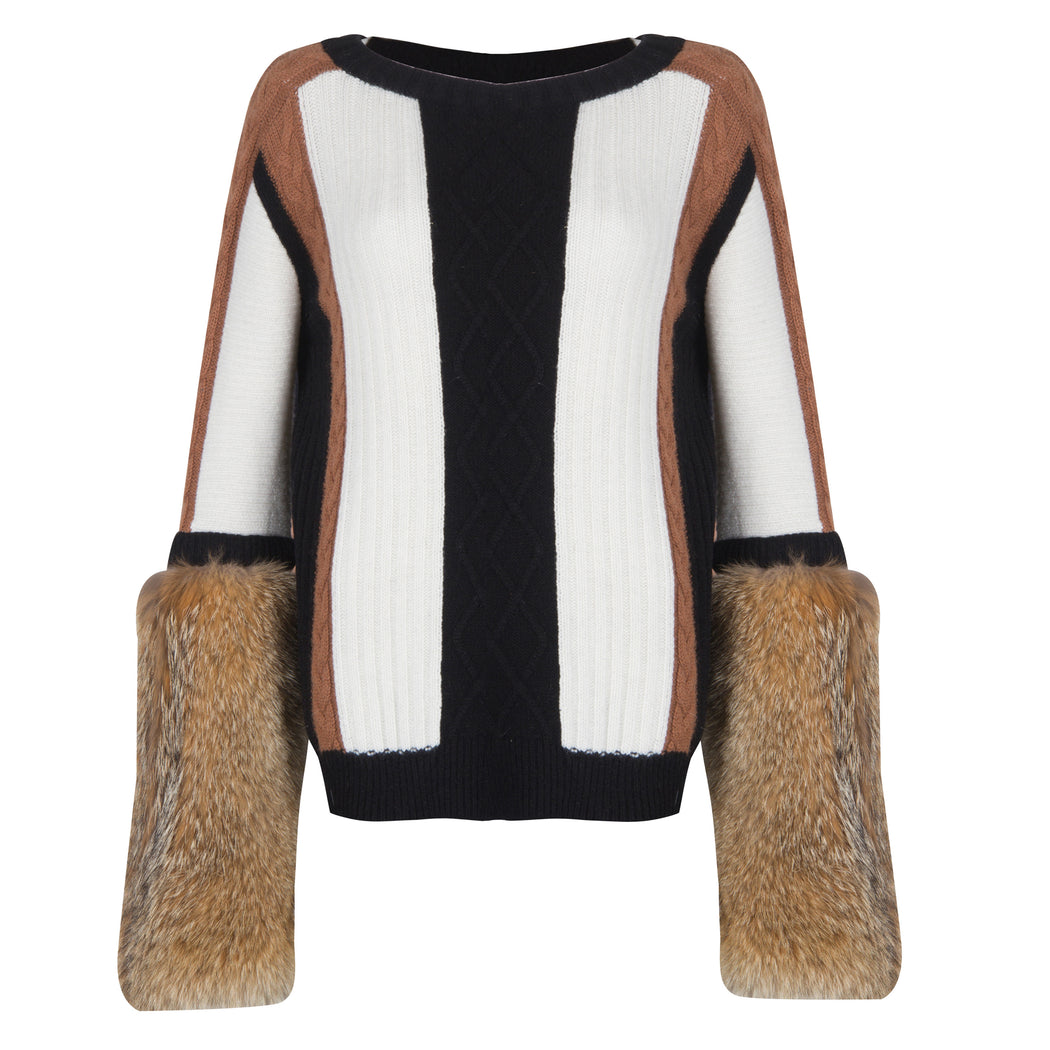 Cable Knit Sweater with Fur Sleeves