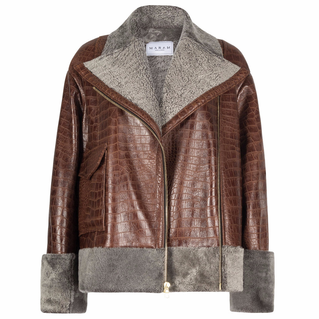 Vintage-Brown Shearling Biker