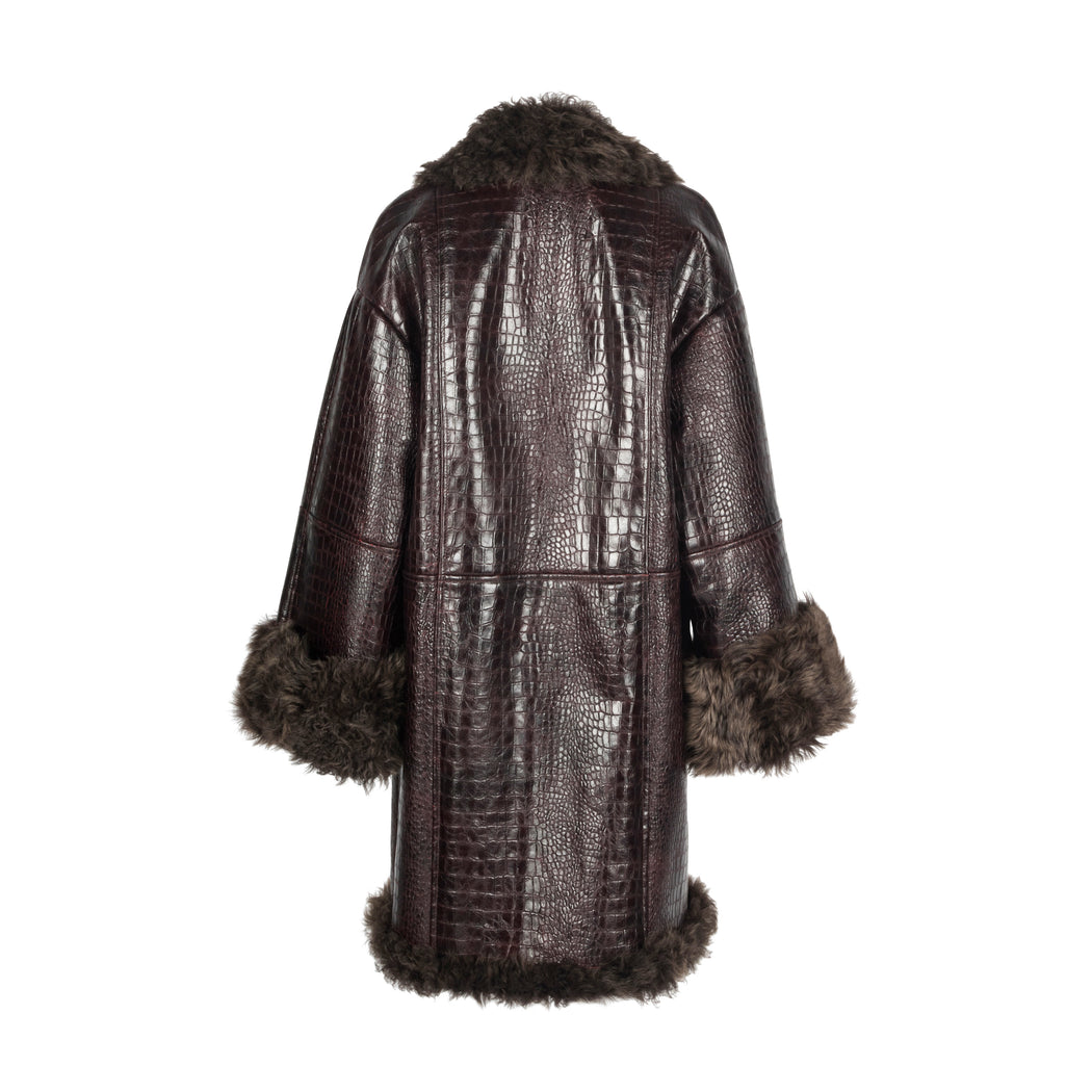 Burgundy Shearling Coat