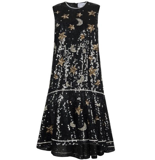 Stars & Moon Sleeveless Sequin Dress