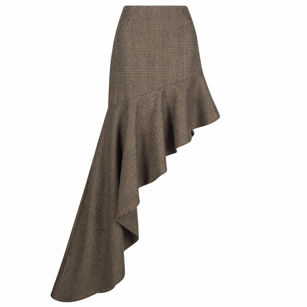 Asymmetric Wool Ruffle Skirt