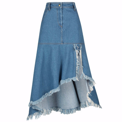 90's High-Low Distressed Denim Skirt