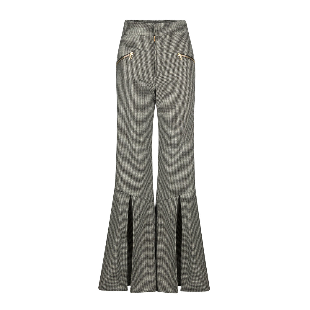 Wool Flared Pants With Slit