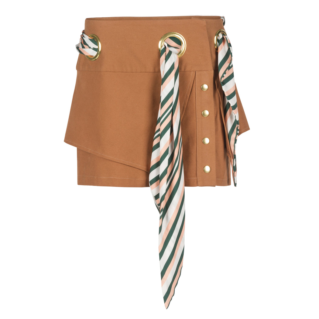 Mini Skirt With Scarf Belt