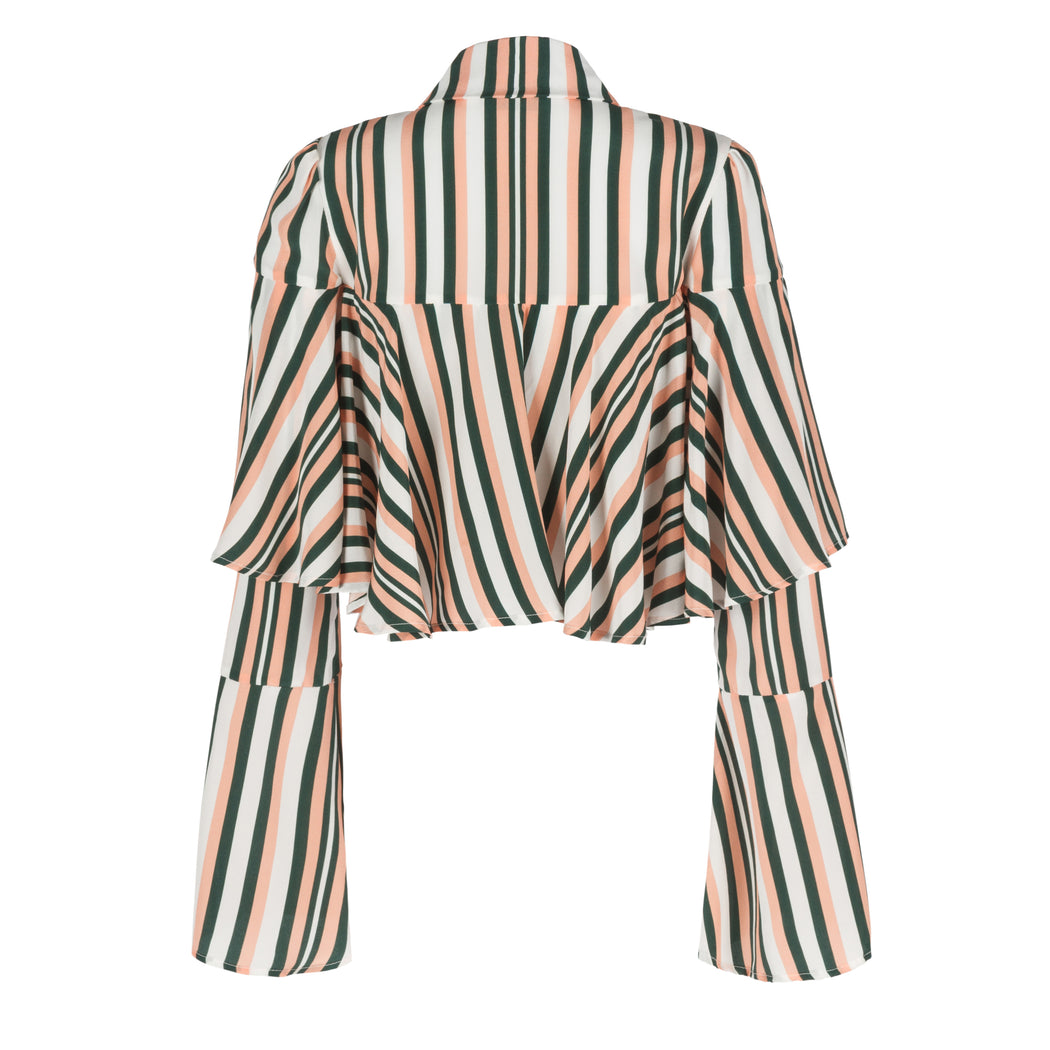 Striped Crop Ruffle Shirt