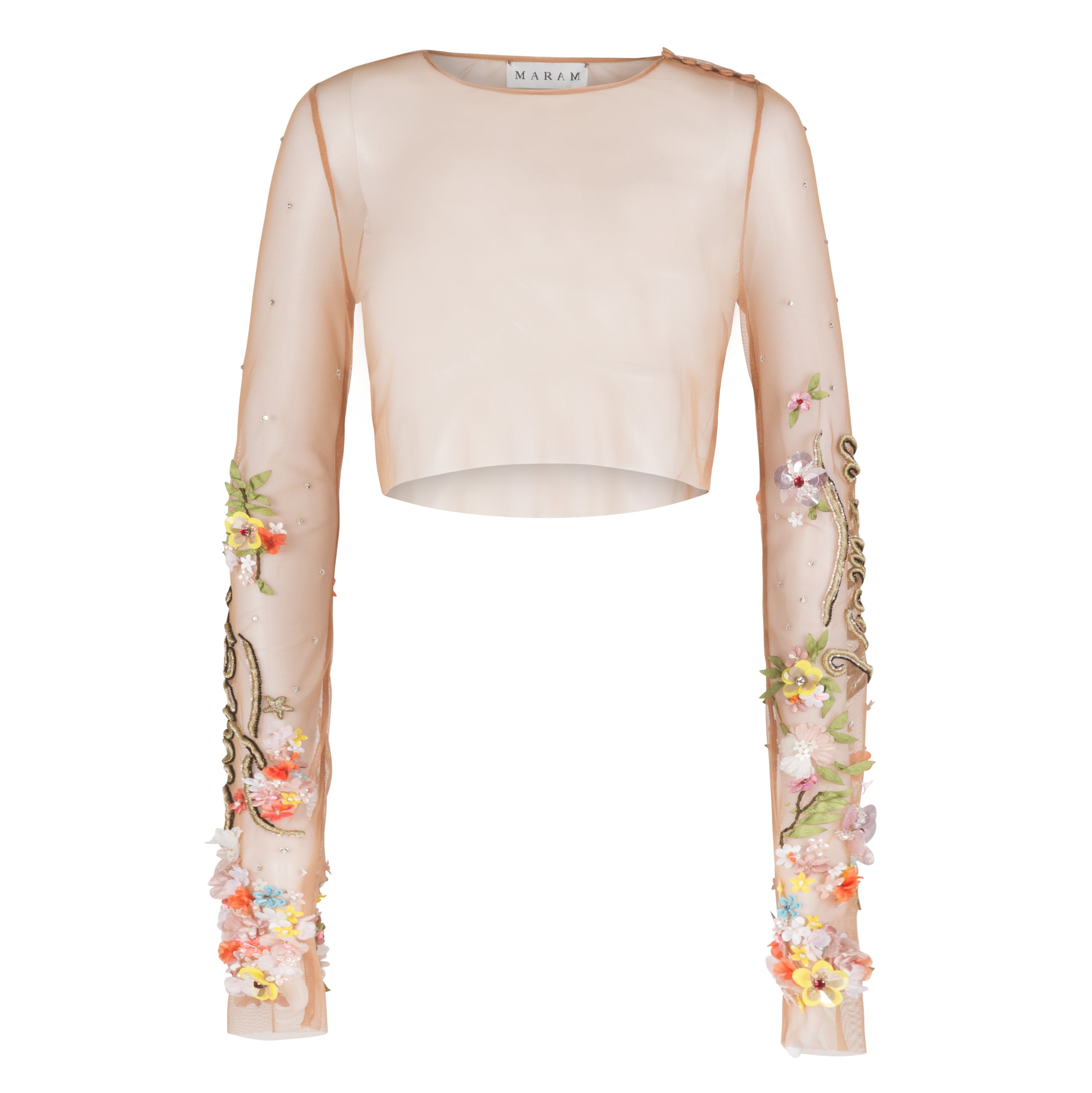 Embroidered Tulle Crop Top