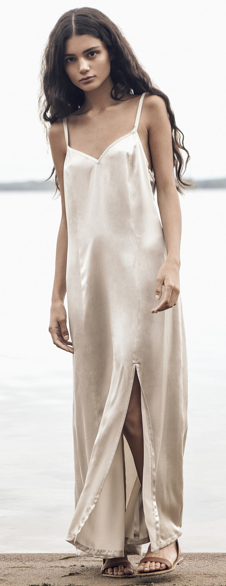 Sand Sueded-Silk Slip Dress