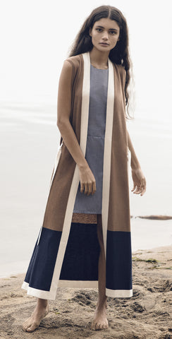 Multi-Colored Cashmere Sleeveless Robe