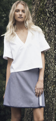 Cotton Poplin V-Neck Top