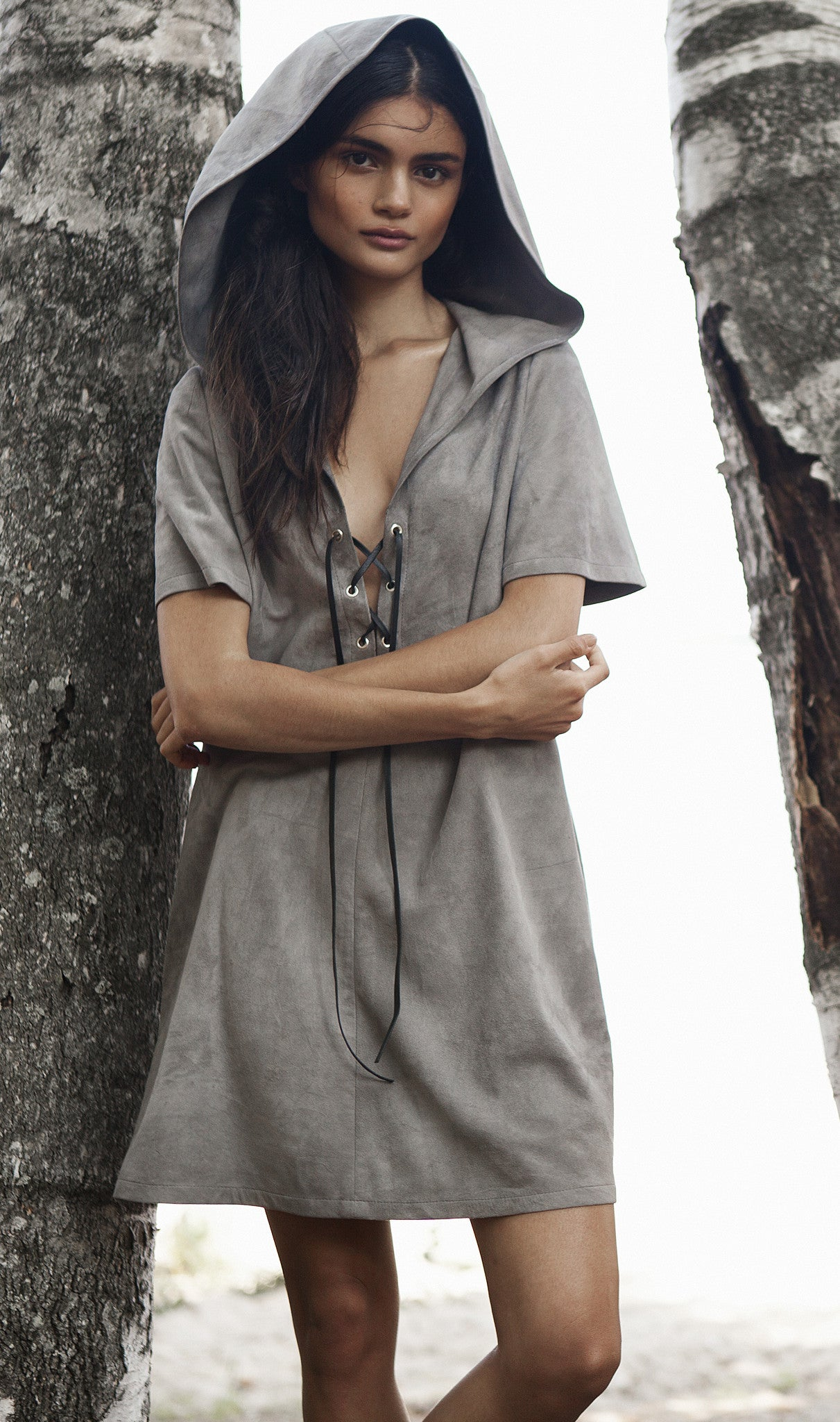Suede Hooded Dress