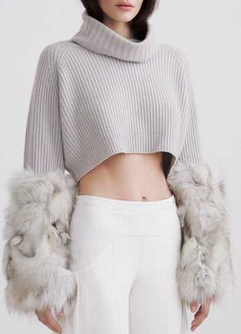 Cashmere blue-fox crop sweater