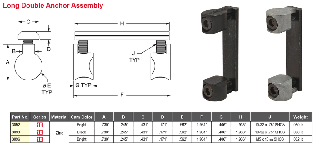 10 Series Fasteners Long Double Anchor Assembly