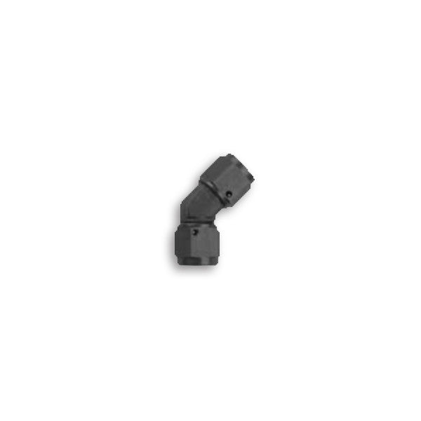 Squirrelly Performance Swivel Female-to-Female Coupler | -4an | 45 Degree | Black