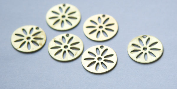 1 Hole Cut Out Design Circle Charm Drops (6) mtl214's