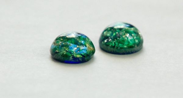 Foil Opal Glass Cabochons 9mm (2) cab3004'S