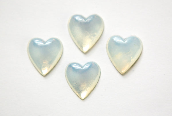 Vintage White Opal Glass Heart Cabochon 15X14mm (4) cab307A
