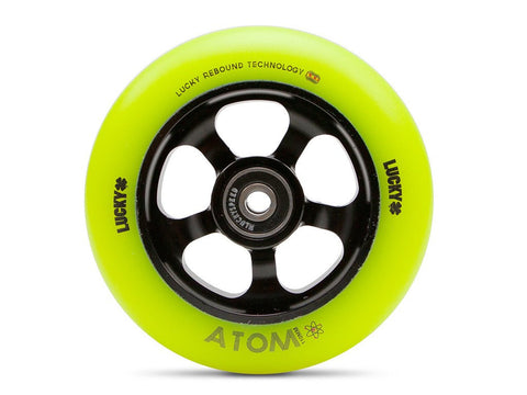 2017 Lucky ATOM 110mm Pro Scooter Wheel - Black/Hi-Liter