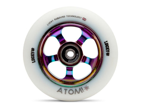 2017 Lucky ATOM 110mm Pro Scooter Wheel - White/NeoChrome