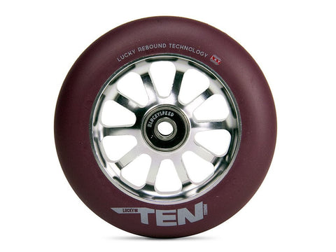 2016 Lucky TEN 110mm Pro Scooter Wheel - Gunmetal/Maroon