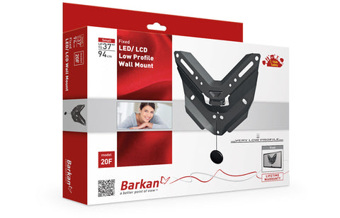 "Barkan 20F LED/ LCD Low Profile Wall Mount, Fixed, Fits up to 37""/94 cm"
