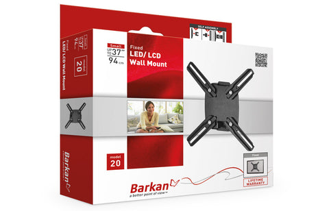 "Barkan 20 LED/LCD Wall Mount, Fixed, Fits up to 37""/94 cm"