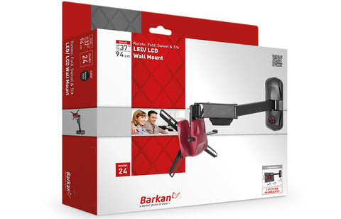 "Barkan 24 LED/LCD Wall Mount, 4 Movement - Rotate, Fold, Swivel & Tilt, Fits up to 37""/94 cm"