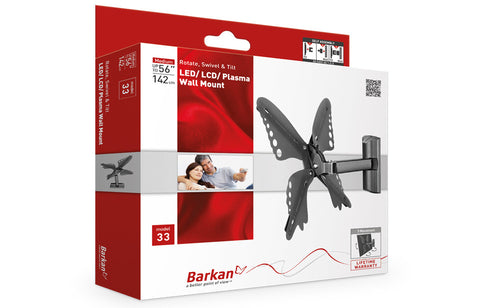 "Barkan 33 LED/LCD/ Plasma Wall Mount, 3 Movement - Rotate, Swivel & Tilt, Fits up to 56""/142cm"