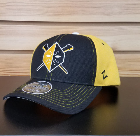 Wheeling Nailers Zephyr Black/Yellow Mask Snapback Hat