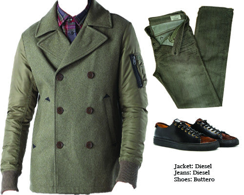 New military-inspired peacoat from Diesel