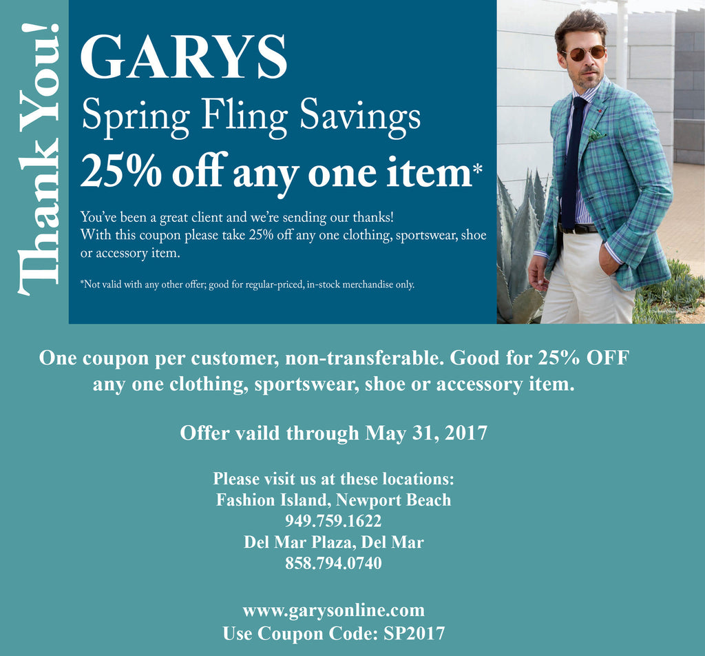 Sping Fling Coupon 2017 GARYS