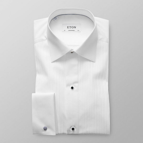 Eton Shirts | Plissé Black Tie Shirt (Contemporary Fit)