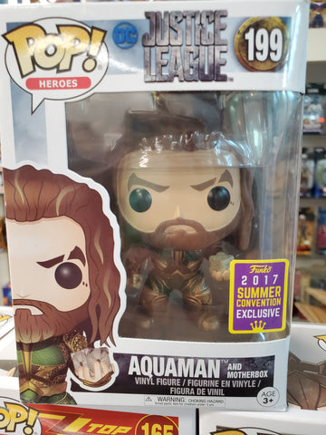 AQUAMAN AND MOTHER BOX DC Justice League #199 Exclusive Funko POP