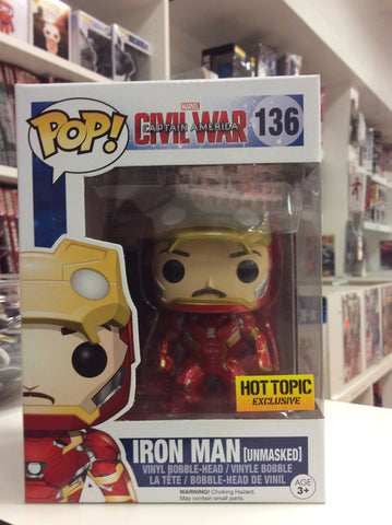 Iron man unmasked exclusive hot topic pop civil war #136