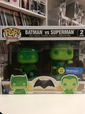 Batman vs Superman 2 pack Walmart exclusive pop heroes glows in the dark