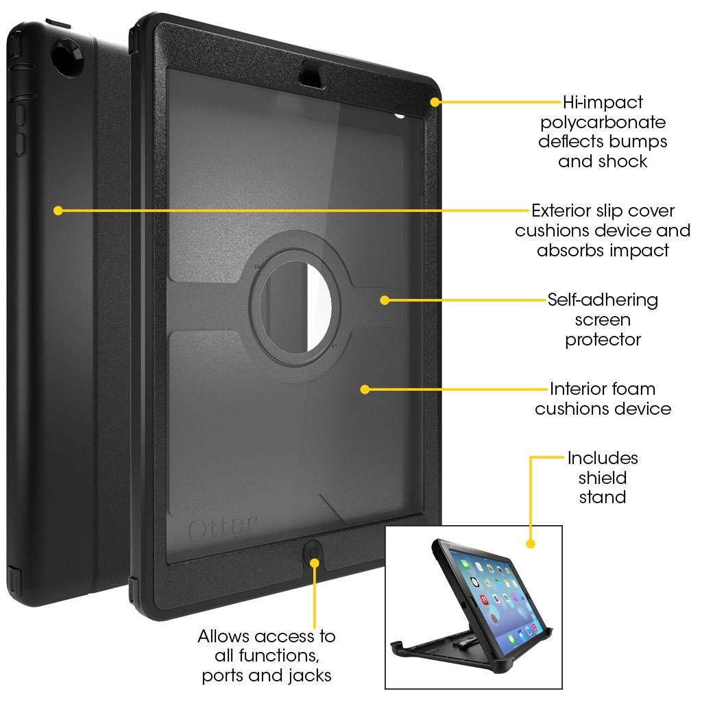 the latest 5d279 463a4 OtterBox Defender Series Case with Screen Protector and Stand for iPad 4th  Generation